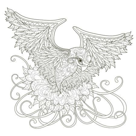 elegante vliegende vogel kleurplaat ontwerp in prachtige stijl Stock Illustratie