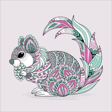 black squirrel: lovely squirrel coloring page in exquisite style Illustration