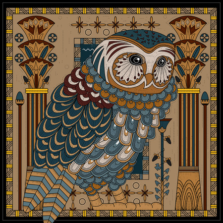 page design: splendid owl coloring page design in Egypt style Illustration