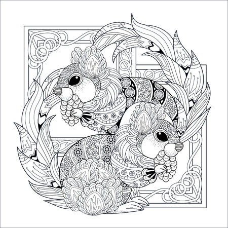 isolated squirrel: lovely squirrel coloring page in exquisite style Illustration