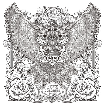 page: gorgeous owl coloring page design in exquisite style