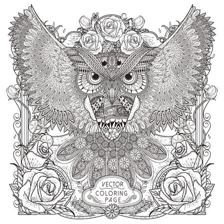 magnífico diseño de páginas para colorear búho en un estilo exquisito Vectores