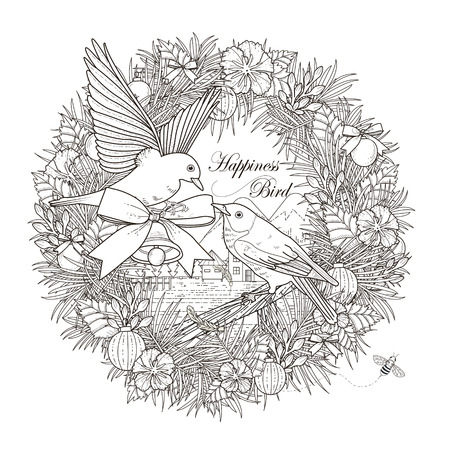 romantic birds coloring page in exquisite style