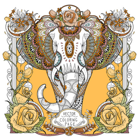 sumptuous: splendid elephant coloring page in exquisite style Illustration