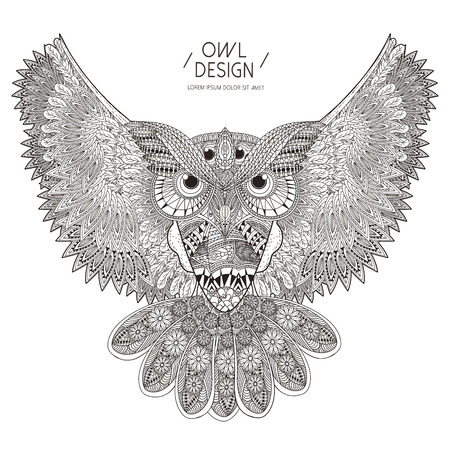 flies: gorgeous owl coloring page design in exquisite style