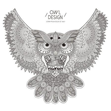 dibujos para colorear: magnífico diseño de páginas para colorear búho en un estilo exquisito Vectores