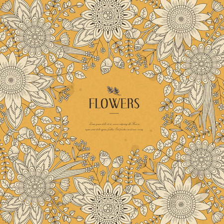 splendid flower frame coloring page in exquisite style Illustration