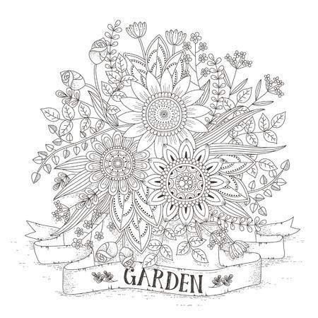 espléndida página para colorear flor en un estilo exquisito