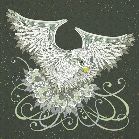 white fly: elegant flying bird coloring page design in exquisite style