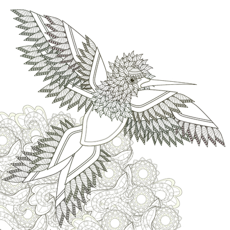 elegant flying bird coloring page design in exquisite style