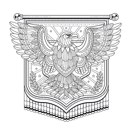 exquisite: flying eagle flag coloring page in exquisite style