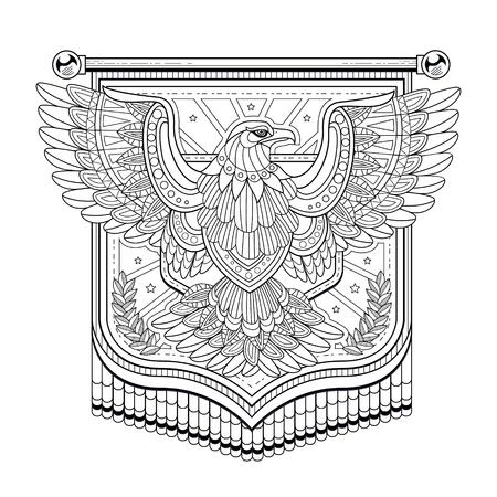 Vliegende adelaar vlag kleurplaat in verfijnde stijl Stockfoto - 46942984