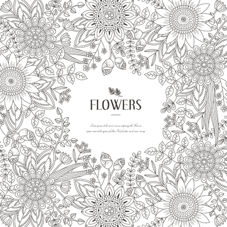 COLOURING: splendid flower frame coloring page in exquisite style Illustration