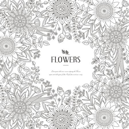 tatouage fleur: splendide Coloriage cadre de fleur dans un style exquis Illustration