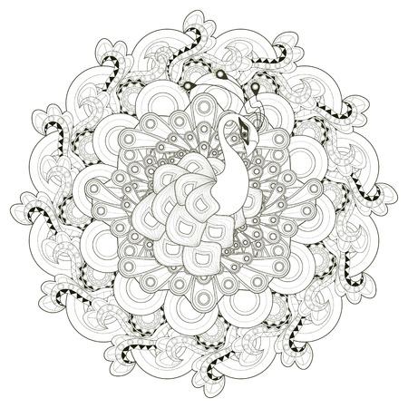 magnífico diseño de páginas para colorear pavo real en estilo étnico Vectores