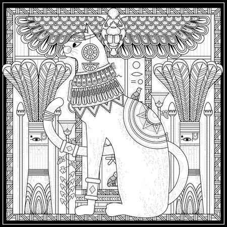 이집트 스타일의 우아한 고양이 색칠 페이지 디자인