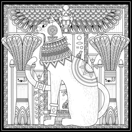 adults: elegant cat coloring page design in Egypt style