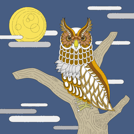 exquisite: lovely owl coloring page design in exquisite style