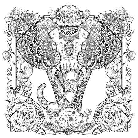 ELEFANTE: espléndida página para colorear elefante en un estilo exquisito