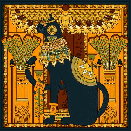 Elegante gato para colorear diseño en estilo Egipto Foto de archivo - 46943614