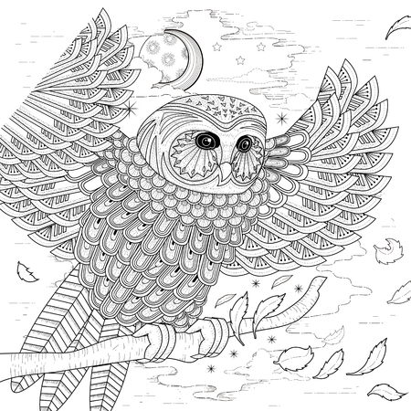 lovely owl coloring page design in exquisite style