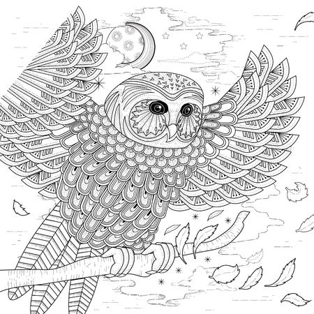 lechuzas: diseño de páginas para colorear búho encantador en un estilo exquisito