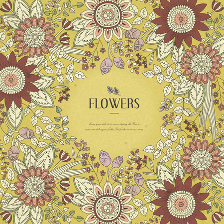 splendid flower frame coloring page in exquisite style Ilustrace