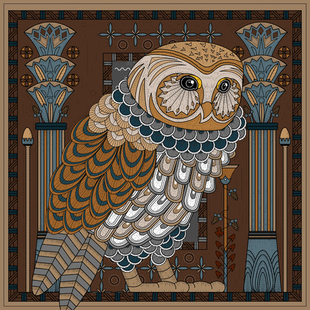 splendid: splendid owl coloring page design in Egypt style Illustration
