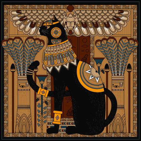 Elegante gatto colorare design in stile Egitto Archivio Fotografico - 46943626