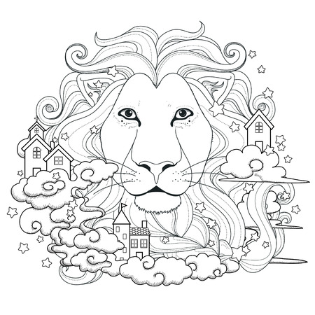 animal hair: lovely lion coloring page in exquisite style