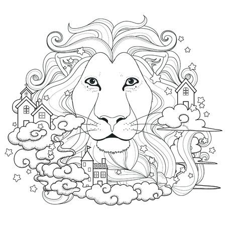 belle Coloriage lion dans un style exquis