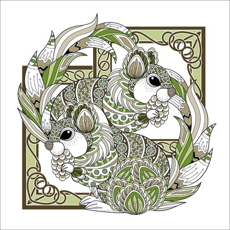 exquisite: lovely squirrel coloring page in exquisite style Illustration