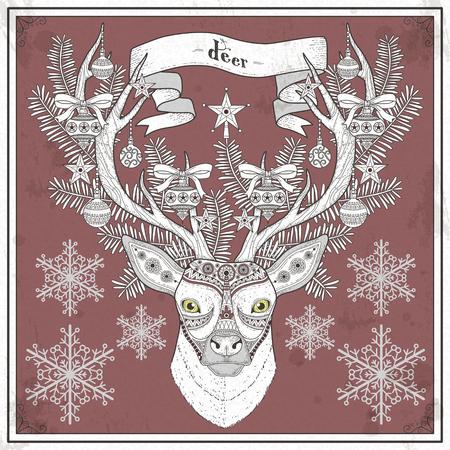 black deer: graceful deer coloring page in Christmas style