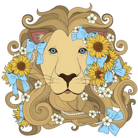 dessin au trait: belle lion avec la page fleurs de colorant dans un style exquis