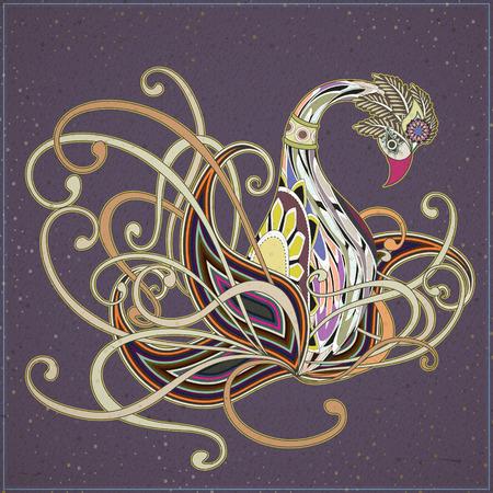 exquisite: elegant swan coloring page design in exquisite style Illustration
