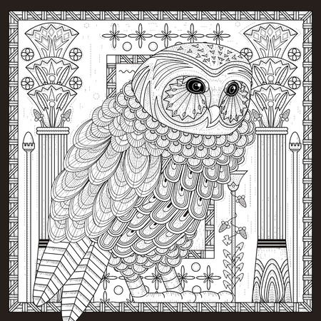 splendid owl coloring page design in Egypt style Vectores