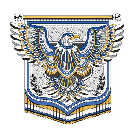 spirits: flying eagle flag coloring page in exquisite style