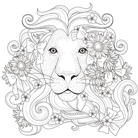 dessin noir et blanc: belle lion avec la page fleurs de colorant dans un style exquis