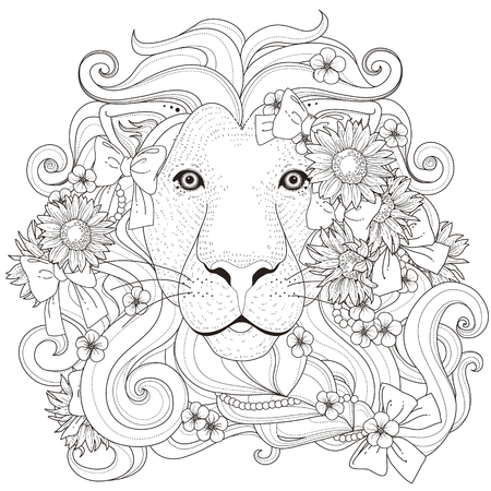black and white line drawing: lovely lion with flowers coloring page in exquisite style Illustration