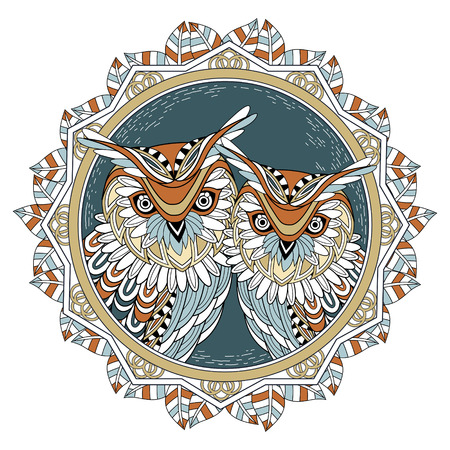 splendid: lovely owl couple coloring page in exquisite style Illustration