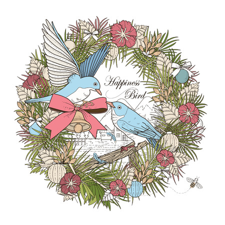 exquisite: romantic birds coloring page in exquisite style