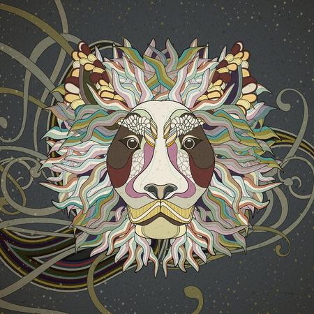 雄大なライオンの絶妙なスタイルでページ デザインを着色