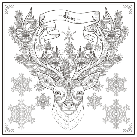 graceful: graceful deer coloring page in Christmas style