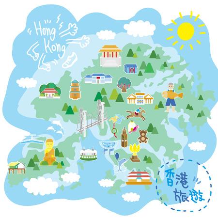 フラット スタイルの魅力的な Hong Kong 旅行マップ
