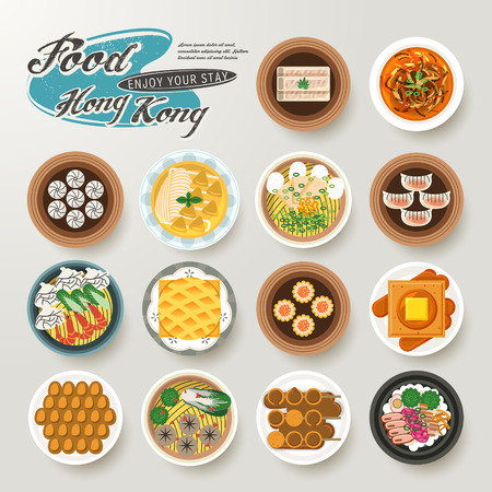 hong kong street: top view of delicious Hong Kong dishes collection in flat style