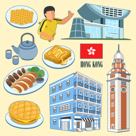dishes: attractive Hong Kong architectures and dishes collection in flat style