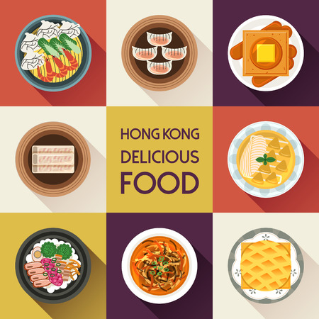 hongkong: top view of delicious Hong Kong dishes collection in flat style