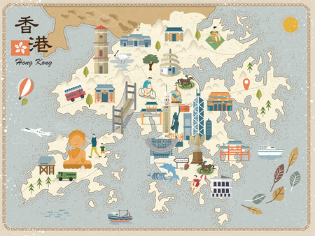 attractive Hong Kong travel map with attractions icons in flat design