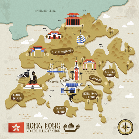 retro Hong Kong travel map in flat design style