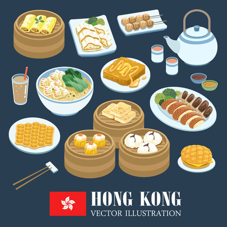 delicious Hong Kong cuisines collection in flat style